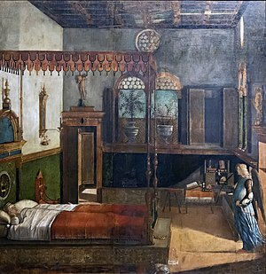 Saint Ursula - The Dream of St. Ursula, Vittore Carpaccio, 1495; tempera on canvas, 274 x 267 cm, Gallerie dell'Accademia, Venice.