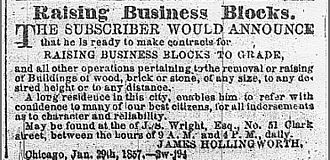 Raising of Chicago - Advertisement in the Chicago Daily Tribune, 1858.