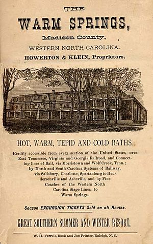 Madison County, North Carolina - Advertisement for Warm Springs Hotel, Madison County, ca. 1880