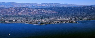 Isla Vista, California - An aerial shot spanning Ellwood, Isla Vista, and Santa Barbara
