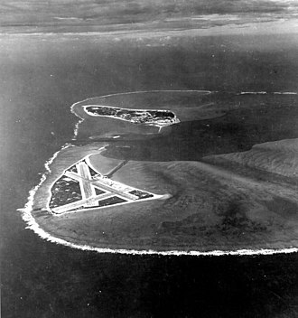 Battle of Midway - Midway Atoll, several months before the battle. Eastern Island (with the airfield) is in the foreground, and the larger Sand Island is in the background to the west.