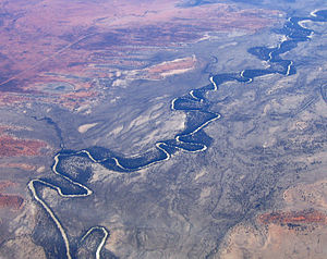 Darling River - Aerial view of the Darling River near Menindee