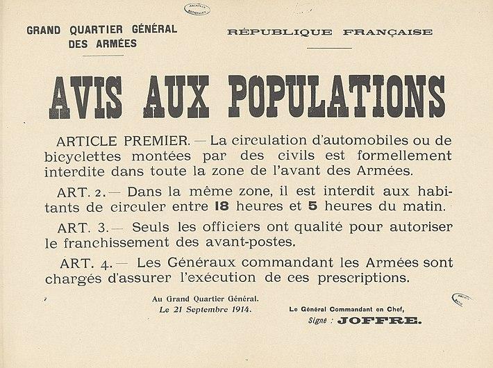 Affiche République française. Grand quartier général des Armées. Avis aux populations- Archives nationales- ADXXC-85-44.jpg