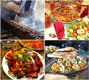 Afghan cuisine - Some of the popular Afghan dishes, from left to right: 1. Lamb grilled kebab (seekh kabab); 2. kabuli Palau and salad; 3. Tandoori chicken; and 4. Mantu (dumplings).