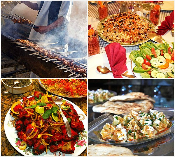 Afghan cuisine wikiwand some of the popular afghan dishes from left to right 1 lamb grilled forumfinder Choice Image