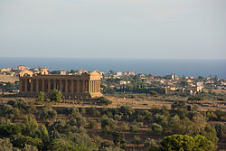 Panorama of Agrigento with the Temple of Concordia