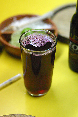 Hibiscus tea - A glass of cold agua de flor de Jamaica in a Cuernavaca restaurant