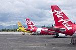 Air Asia and Cebu Pacific tails at Kalibo Airport.jpg