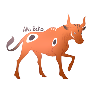 Akabeko - Artist rendition of the legendary Akabeko cow