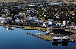 An aerial view of downtown Akureyri