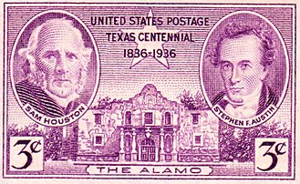 Republic of Texas - Sam Houston and Stephen F. Austin depicted on a 1936 US postage stamp commemorating 100th anniversary of the Texas Republic