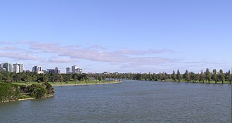 Albert Park and Lake - Albert Park Lake looking south-east from the lookout tower at The Point restaurant.