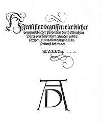 To τετράτομο έργο Vier Bücher von menschlicher Proportion (Τέσσερα Βιβλία Για Τις Ανθρώπινες Αναλογίες) που εκδόθηκε μετά το θάνατο του Ντύρερ.
