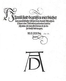 The title page of Vier Bücher von menschlicher Proportion showing the monogram signature of Albrecht Dürer