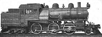 2-6-6T - ALCO-built 2-6-6 suburban tank locomotive of the New York Central and Hudson River Railroad.