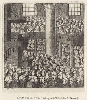 Alexander Webster - Caricature (published 1785) by John Kay depicting Alexander Webster preaching to a congregation filled with people notorious for never coming to church.