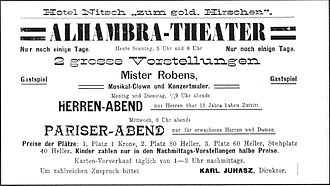 "Cinema of Austria - Advertisement for ""Pariser-Abend"" (Paris evening) and ""Herren-Abend"" (gentlemen's evening) with erotic movie screenings of the ""wandering cinema"", Alhambra-Theater, 1906."