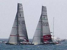 Color photograph of racing catamarans