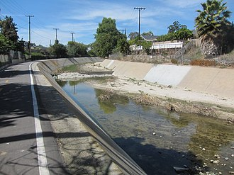 Aliso Creek (Orange County) - A channelized section of Aliso Creek in Lake Forest