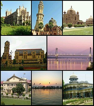 Clockwise from top left: All Saints Cathedral, the University of Allahabad, Khusro Bagh, the New Yamuna Bridge, Anand Bhavan, Sangam, the Allahabad High Court and the Thornhill Mayne Memorial at Alfred Park.
