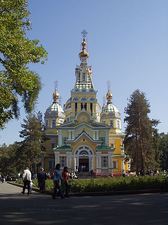 Russians in Kazakhstan - The 19th-century Russian Orthodox church in Almaty is the second tallest wooden building in the world.