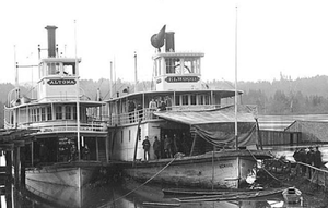 Elwood (sternwheeler) - Altona (left) and Elwood (right) at Salem, Oregon.