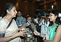 Ambika Soni briefing the media, after inaugurating the Film Bazar India, during the 42nd International Film Festival of India (IFFI-2011), in Panaji, Goa on November 24, 2011.jpg