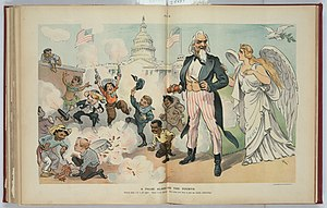 Independence Day (United States) - American children of many ethnic backgrounds celebrate noisily in 1902 Puck cartoon