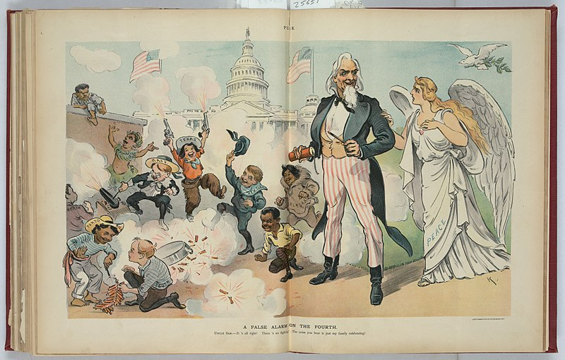 American children of many ethnic backgrounds celebrate noisily in a 1902 Puck cartoon. American 1902 Fourth of July fireworks.jpg