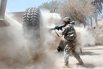 Operation Phantom Thunder - Image: American soldier during firefight in Adhamiyah, Baghdad (Operation Phantom Thunder)