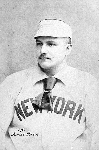 Amos Rusie led the National League in strikeouts a total of five times with two different teams. AmosRusiecrop.jpg