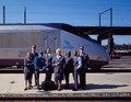 Amtrak employees show off their new uniforms in front of the brand new Acela Train that was put in service in the year 2000. Washington, D.C LCCN2011631300.tif