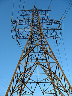Transmission tower Structure used to support an overhead power line