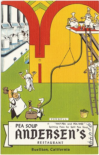 Pea Soup Andersen's - Old postcard advertising the Buellton restaurant