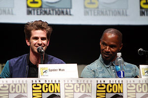 The Amazing Spider-Man 2 - Andrew Garfield and Jamie Foxx at the 2013 San Diego Comic-Con International promoting The Amazing Spider-Man 2.