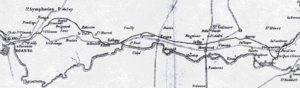 Saint-Étienne to Andrézieux Railway - Map of Andrézieux - Le Coteau (- Roanne) in 1833, including the crossing of the Loire on the Pont de Pierre which was banned by the Roanne council
