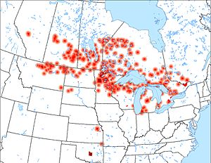 Anishinaabe - Anishinaabe Reserves/Reservations in North America, with diffusion rings if an Anishinaabe language is spoken. Cities with Anishinaabe population also shown.