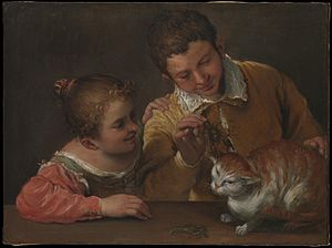 1589 in art - Image: Annibale Carracci Two Children Teasing a Cat WGA4410