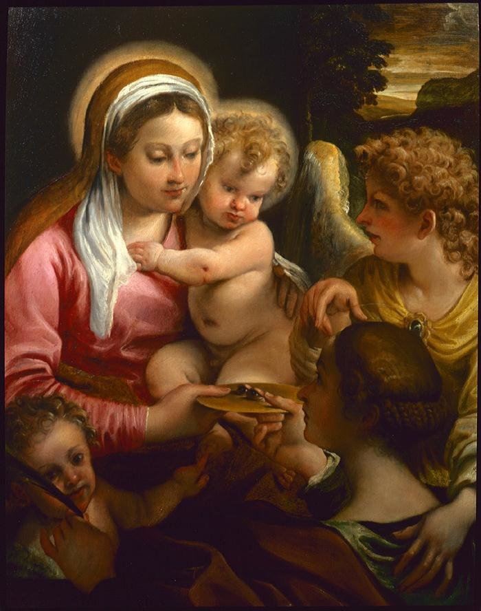 Annibale Carracci Madonna con Bambino, santa Lucia, san Giovannino e angelo, Feigen collection