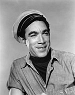 Black and white photo of Anthony Quinn circa 1955.