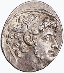 Moneda con el retrato del rey seléucida Antíoco XI.