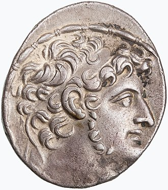 Antiochus XI Epiphanes - Antiochus XI's portrait on the obverse of a tetradrachm