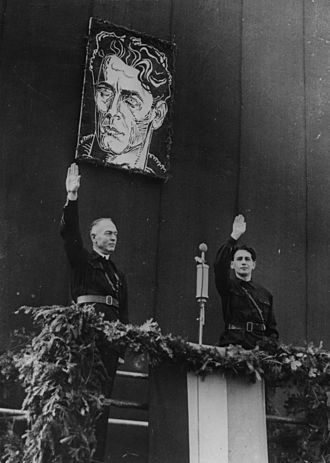 Corneliu Zelea Codreanu - Conducător of Romania Marshal Ion Antonescu and Iron Guard leader Horia Sima in a tribute to Iron Guard founder Codreanu, October 1940