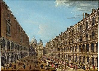 Antonio Joli - Image: Antonio Joli Auszug des Nuntius Stoppani aus dem Dogenpalast 1741