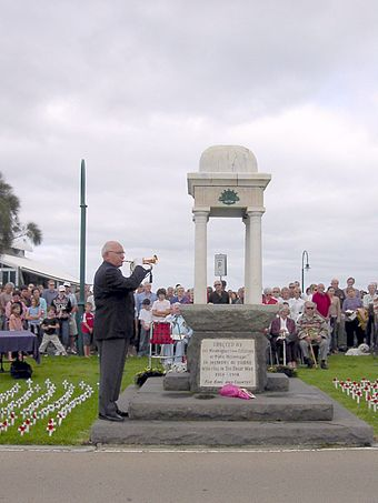 The Last Post is played at an Anzac Day ceremony in Port Melbourne, Victoria, 25 April 2005. Ceremonies like this are held in virtually every suburb and town in Australia and New Zealand on Anzac Day each year. Anzac1.JPG