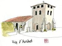 Aquarelle de l'église de Vicq-d'Auribat.jpg