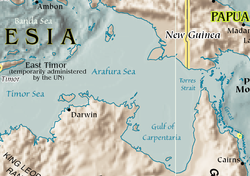 Mapa do mar de Arafura