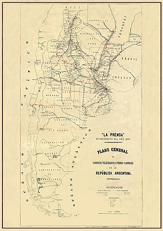 Correo Argentino - Argentine post network, 1877.