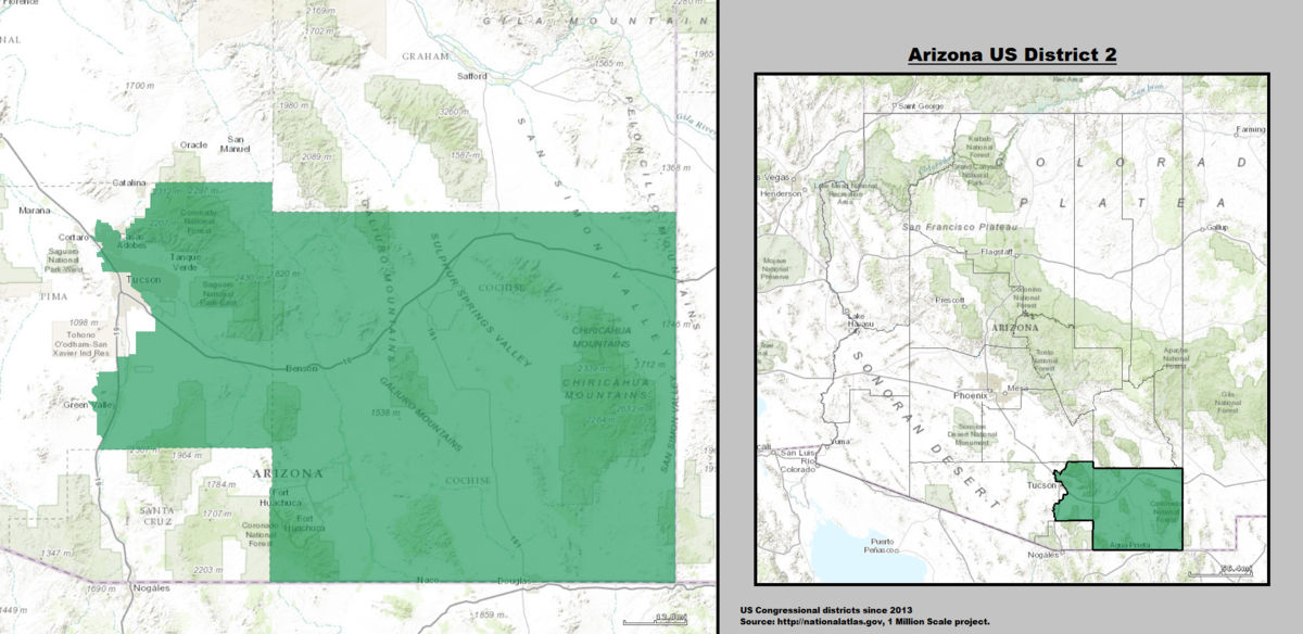 Map Of Arizona 5th Congressional District.Arizona S 2nd Congressional District Wikipedia