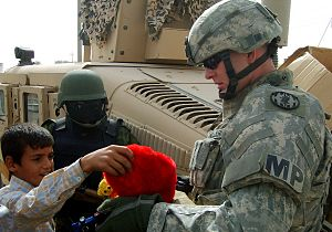 89th Military Police Brigade (United States) - 89th MP Brigade soldiers on a humanitarian mission in Iraq.